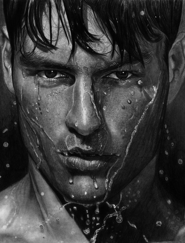 3-wet-man-water-realistic-pencil-drawing-by-vengeance