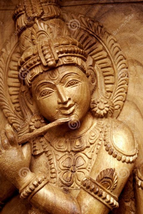 3-wood-carving-krishna-god