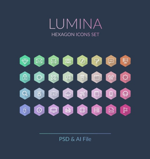 Lumina-Hexagon-Icons-Set