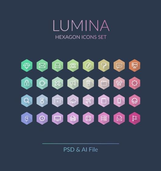 Lumina-Hexagon-Icons-Set